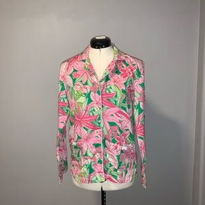Lilly Pulitzer pink/green long sleeved PJ top, L